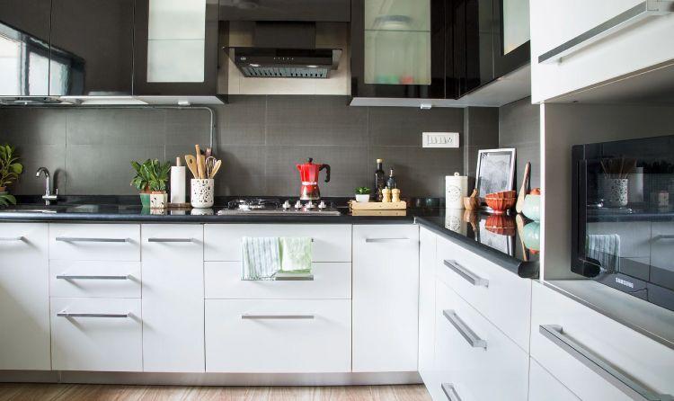 Mumbai modular kitchen_black and white kitchen
