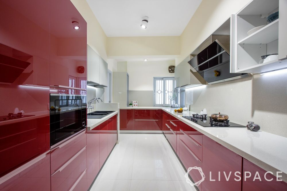 parallel kitchen_red_glossy finish