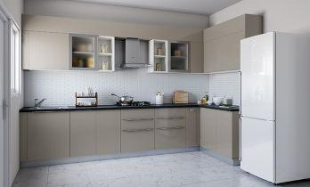 Contemporary L-shaped Modular Kitchen