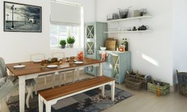 Country style dining room with two toned bench and dining table