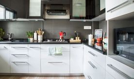 Mumbai modular kitchen_black and white kitchen