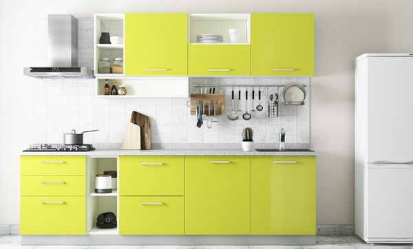 Monochromatic Lime-toned Straight Line Kitchen