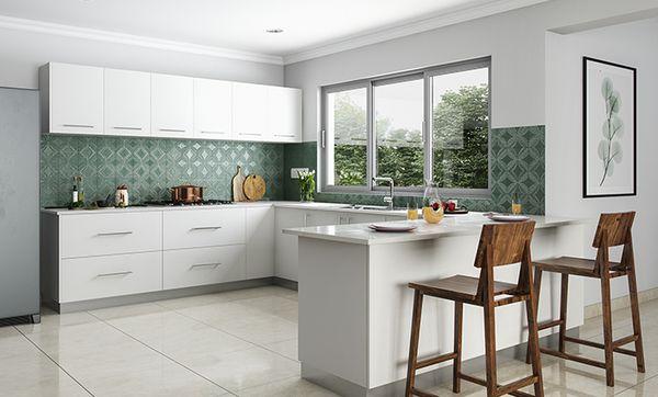 Monochromatic U-shaped Kitchen