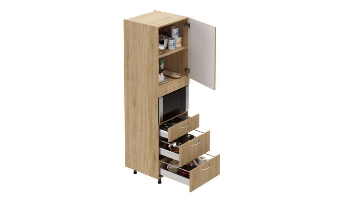 Tall Microwave Unit, 3 Drawers