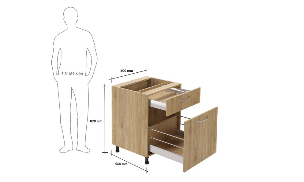 Base Unit, 2 Drawers (1M, 1XL)