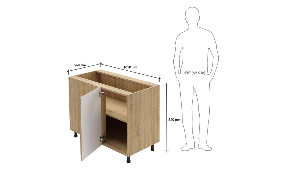 Blind Corner Unit, 1 Shelf